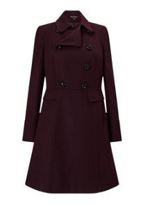 Miss Selfridge Burgundy Double Breasted Coat