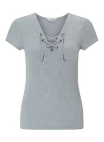 Miss Selfridge Slate Grey Lace Up Top