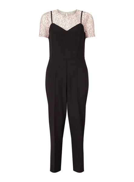 Miss Selfridge Lace Tee 2In1 Jumpsuit