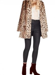 Miss Selfridge Leopard Faux Fur Dolly Coat