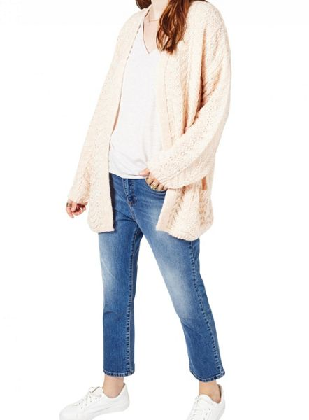 Miss Selfridge Pink Knitted Stitch Cardi