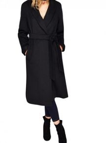 Miss Selfridge Black Longline Robe Coat