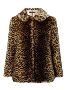 Miss Selfridge Petites Leopard Coat