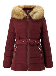 Miss Selfridge Berry Belted Puffa Coat