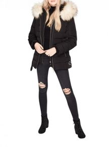 Miss Selfridge Black Belted Puffa Coat