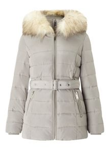 Miss Selfridge Silver Belted Puffer Coat
