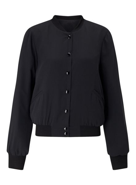 Miss Selfridge Black Popper Detail Bomber