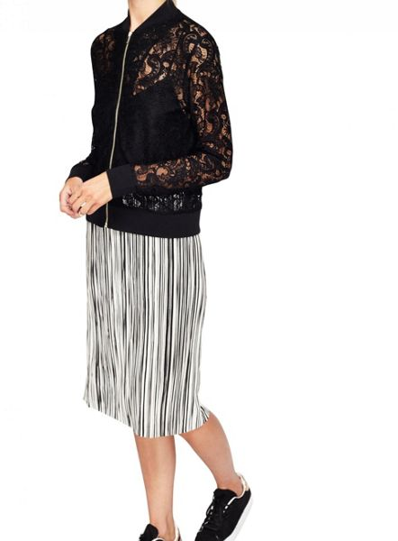 Miss Selfridge Black Lace Bomber Jacket