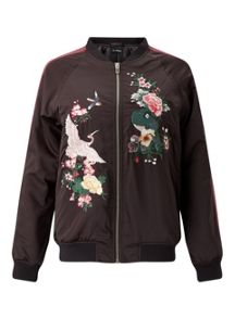 Miss Selfridge Satin Embroided Bomber Jacket