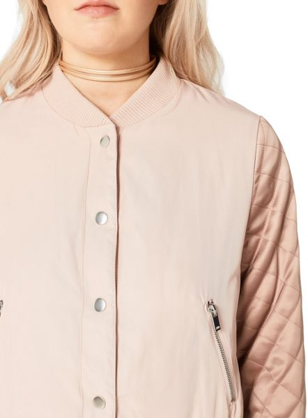 Miss Selfridge Blush Quilted Sleeve Bomber