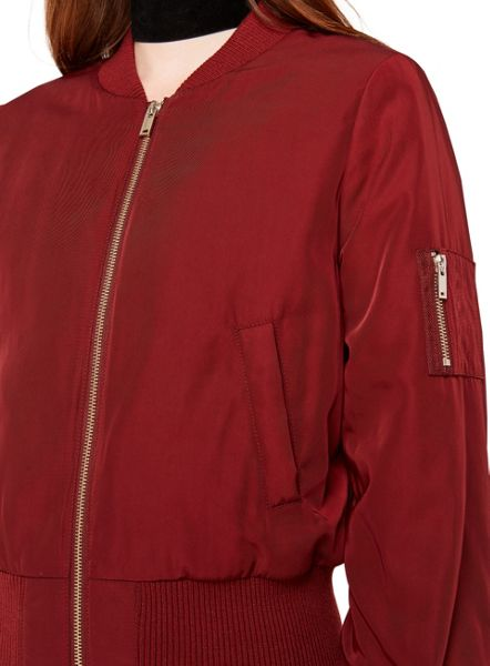 Miss Selfridge Burgundy Bomber Jacket