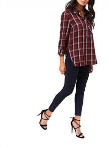 Miss Selfridge Burgundy Split Check Shirt