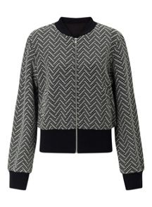 Miss Selfridge Mono Jacquard Bomber Jacket