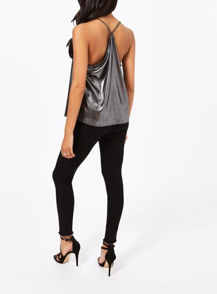 Miss Selfridge Metallic Cowel Cami