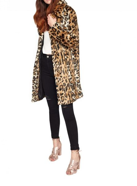 Miss Selfridge Leopard Faux Fur Coat