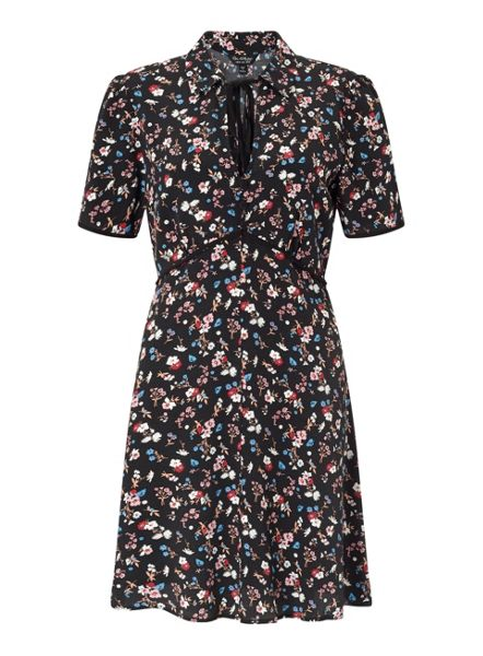 Miss Selfridge Blakc Ditsy Tea Dress