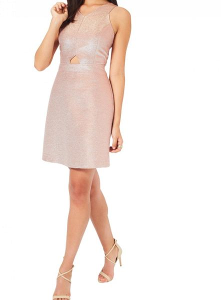 Miss Selfridge Rose Gold Glitter Dress
