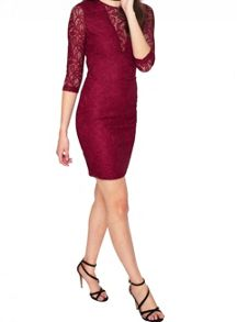 Miss Selfridge Burgundy Lace Bodycon Dress