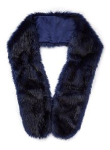 Miss Selfridge Navy Faux Fur Stole