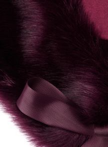 Miss Selfridge Plum Fur Neck Tie