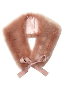 Miss Selfridge Blush Fur Neck Tie