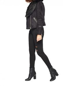 Miss Selfridge Black Shearling Jacket