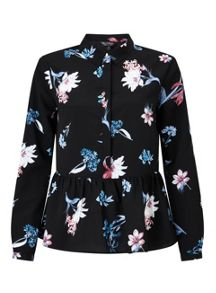 Miss Selfridge Dark Floral Peplum Shirt