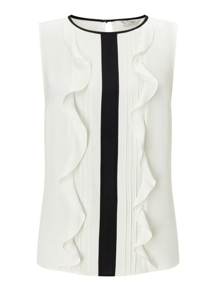 Miss Selfridge Pintuck Ruffle Shell