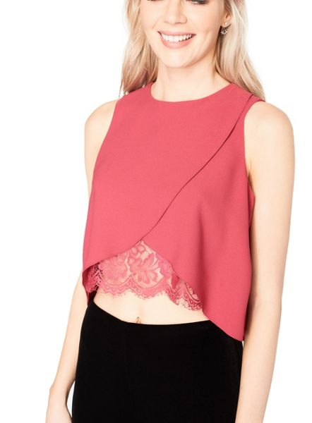 Miss Selfridge Pink Lace Insert Shell