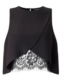 Miss Selfridge Black Lace Insert Shell