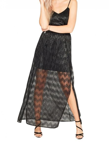 Miss Selfridge Black Shimmer Maxi Dress