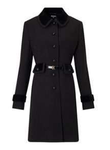 Miss Selfridge Black Velvet Trim Coat