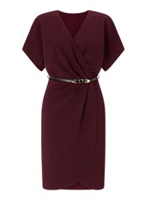 Miss Selfridge Burgundy Belted Wrap Dress