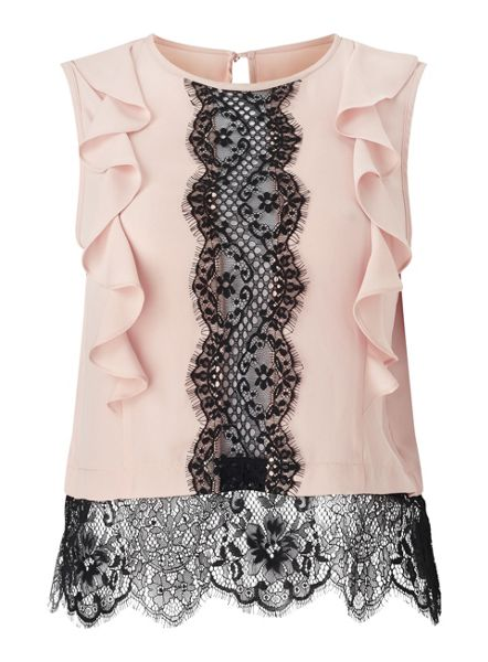 Miss Selfridge Petites Lace Front Shell Top