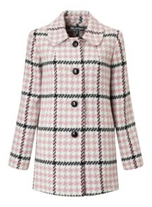 Miss Selfridge Pink Check Button Through Coat