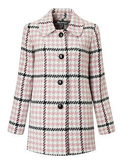 Pink Check Button Through Coat