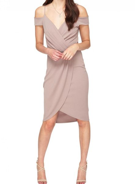 Miss Selfridge Grey Wrap Cold Shoulder Dress