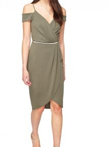 Miss Selfridge Khaki Wrap Cold Shoulder Dress