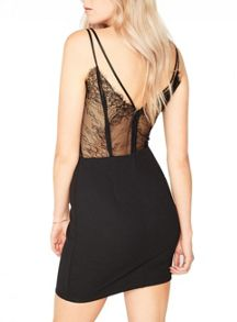Miss Selfridge Black Lace Back Dress