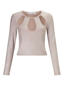 Miss Selfridge Petites Pink Glitter Top