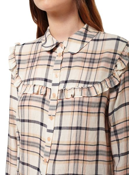 Miss Selfridge Check Ruffle Bib Shirt