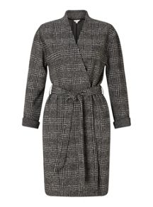 Miss Selfridge Dark Grey Check Belted Duster