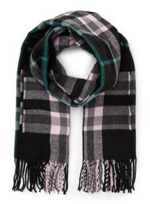 Miss Selfridge Black/Pink/Green Check Scarf