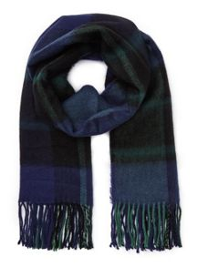 Miss Selfridge Green Navy Check Scarf