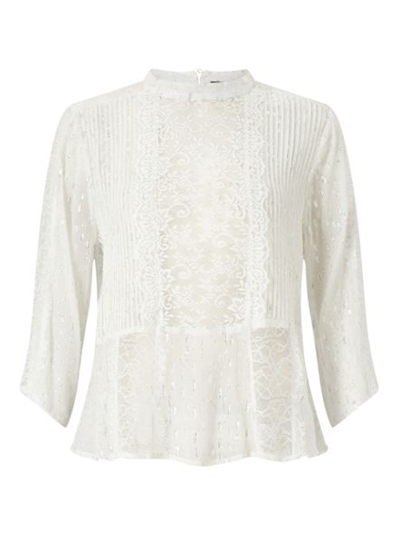 Miss Selfridge Ivory Dobby Pintuck Blouse