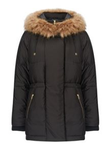 Miss Selfridge Black Duvet Puffer Coat