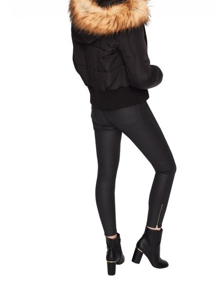 Miss Selfridge Black Puffer Bomber Coat
