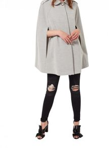 Miss Selfridge Grey Collar Cape Coat