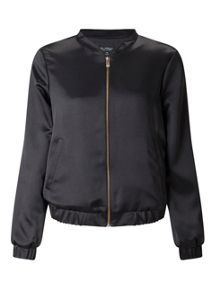 Miss Selfridge Black Satin Bomber Jacket