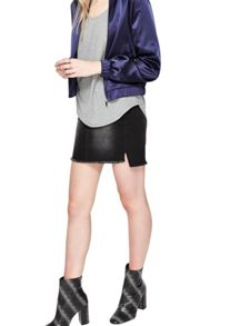 Miss Selfridge Navy Satin Bomber Jacket